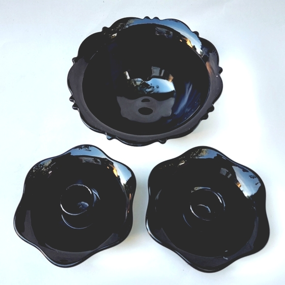 Black Amethyst Glass Footed Bowl & Candle Holders